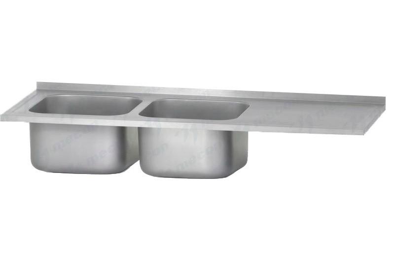 """Ванна с рабочей поверхностью РПЦн 1800*600 """"Norma"""" левая, 2 м/о 400*400*250, борт - базовый элемент"""